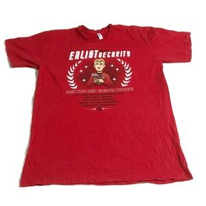 """Star Trek Red Shirt """"Enlist With Security"""" Tee L"""